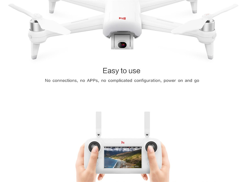 FIMI A3 5.8G 1KM FPV with 2-axis Gimbal 1080P Camera GPS RC Drone Quadcopter RTF - 5.8G FPV ( Xiaomi Ecosystem Product )- White 1 Battery