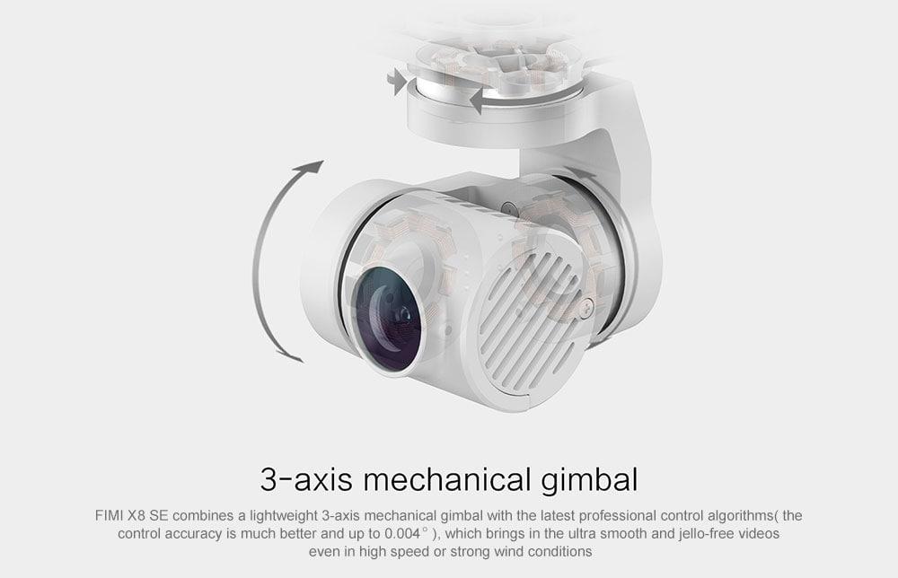FIMI X8 SE 5KM FPV 3 tengelyes Gimbal 4K kamera GPS-vel 33 perc Repülési idő RC Drone Quadcopter RTF (Xiaomi ökoszisztéma termék) - Fehér