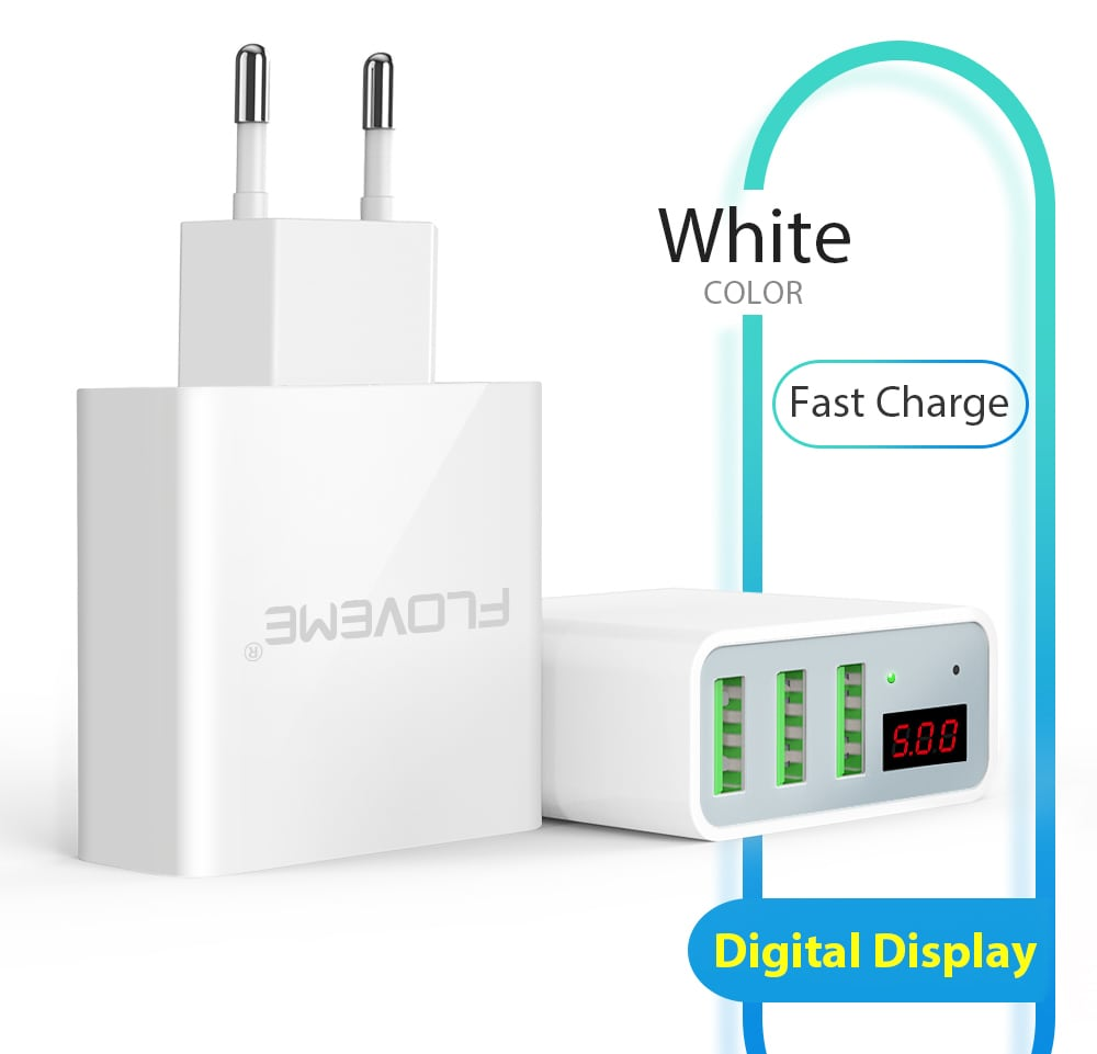 FLOVEME intelligens digitális kijelző 3 USB töltő EU Plug-White