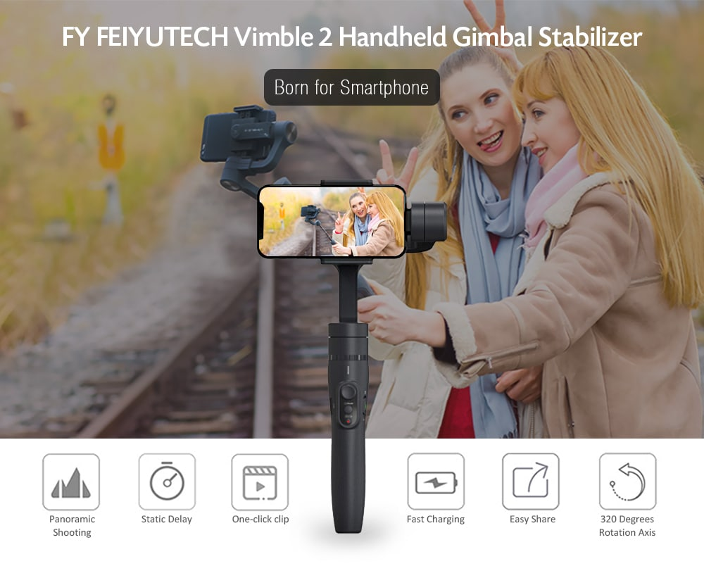 FY FEIYUTECH Vimble 2 Handheld Gimbal Stabilizer with Adjustable Extension Pole for Smartphone- Black