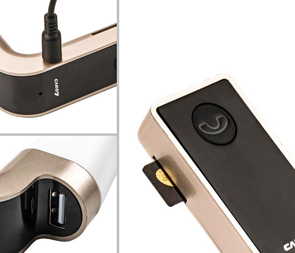 G7 Bluetooth kihangosító FM rádió Rádió MP3 lejátszó USB autós töltő - fehér és szürke