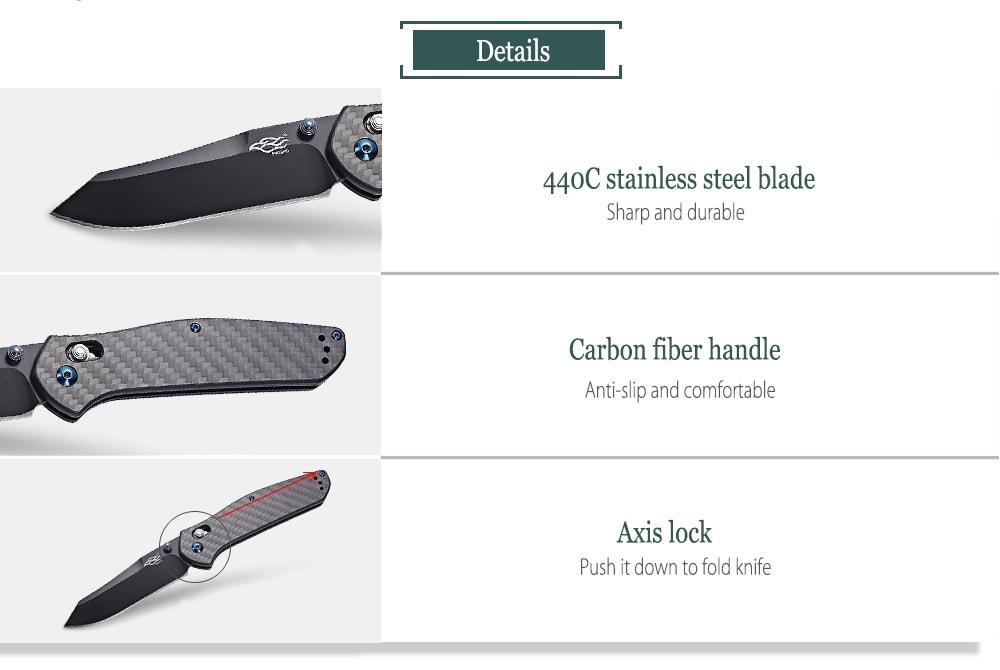 Ganzo Firebird F7563 - CF tengelyzáras zseb-összecsukható kés szénszálas fogantyúval - fekete