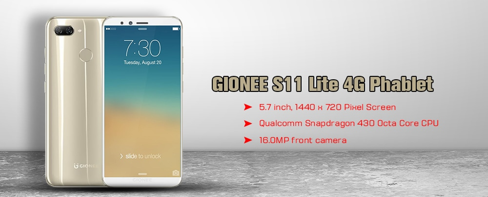 GIONEE S11 Lite 4G Phablet 5.7 inch Android 7.1 Qualcomm Snapdragon 430 Octa Core 1.4GHz 4GB RAM 32GB ROM 16.0MP Front Camera Fingerprint Sensor 3030mAh Built-in- Gold