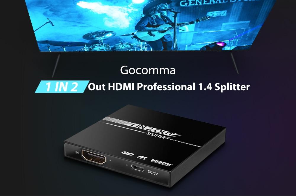 Gocomma 3D 4K 1 in 2 Out HDMI Professional 1.4 Splitter - fekete