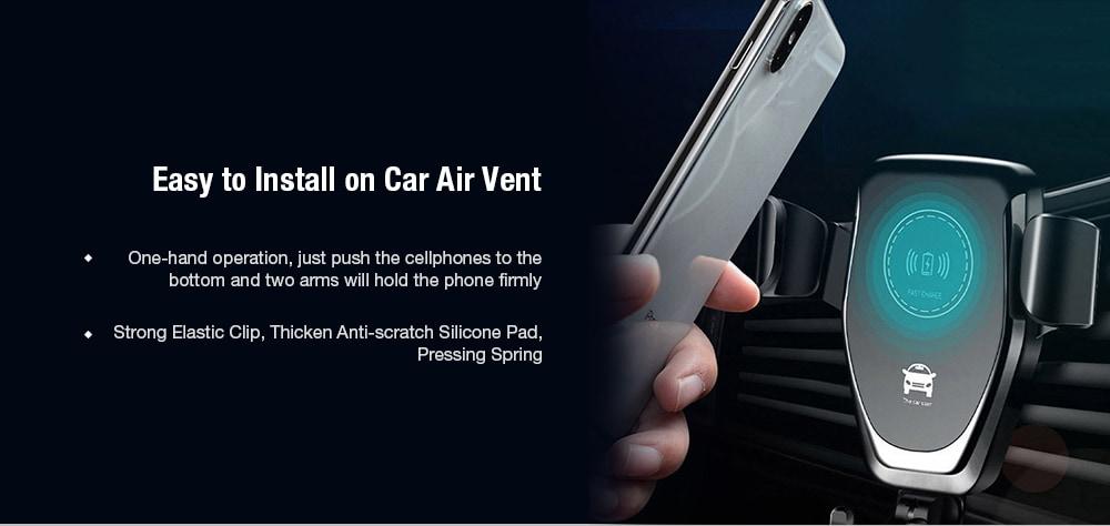 Gocomma 10W QI vezeték nélküli gyors töltő autós tartó tartó állvány - fekete 1db