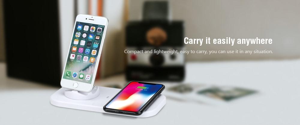 Gocomma 8 Pin / C-típusú / Micro USB 3 in 1 Gyors töltő vezeték nélküli töltéssel Funtion-White