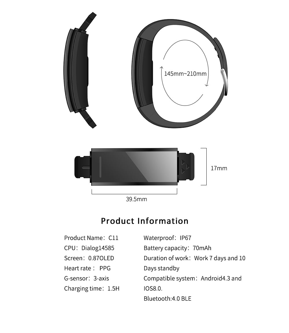 Gocomma C11 Black White Screen Smart Bracelet- Lapis Blue