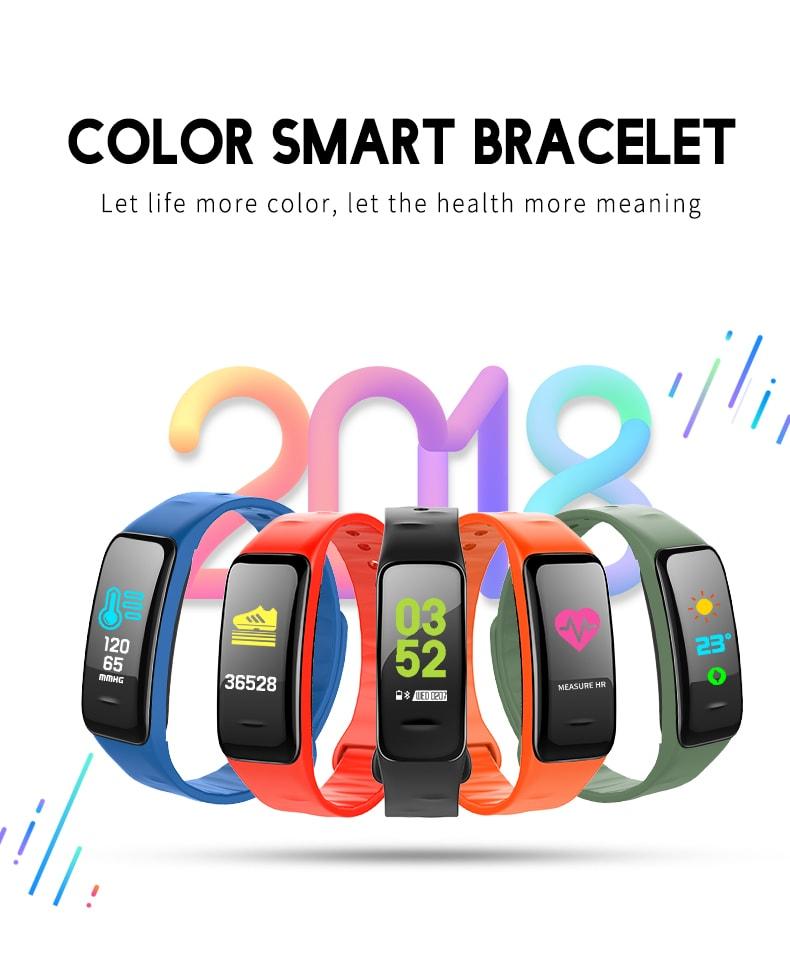 Gocomma C1PLUS Color Screen Blood Pressure Smart Bracelet- Red