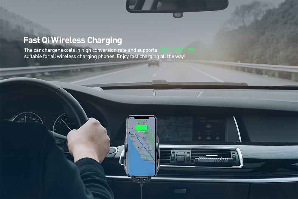 Gocomma C8 mini automata Qi vezeték nélküli gyors autós töltő 10W - fekete