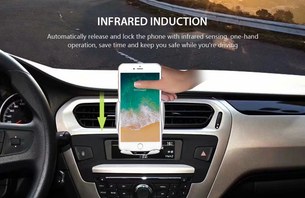 Gocomma Car Wireless Fast Charging Infrared Induction Phone Charger Holder- Black 2PCS