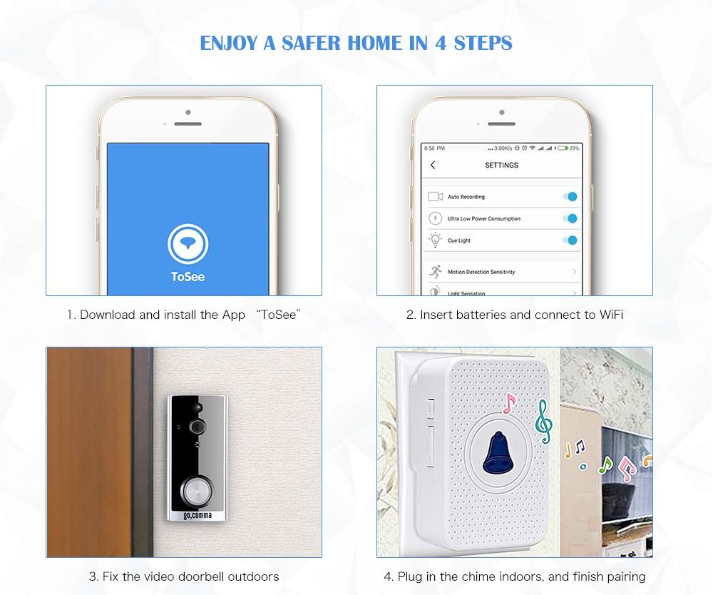 gocomma Wireless Door Camera WiFi Snapshot Doorbell Smart Home Chime Alert System- Black With Bell + 1080P