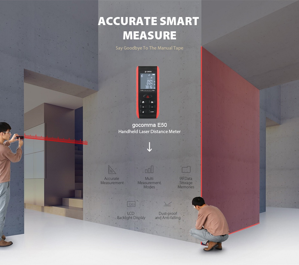 gocomma E50 kézi lézeres távolságmérő 0,05 - 50 m távolságmérő - több 50 m-es mérési tartomány