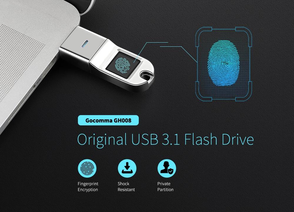 Gocomma GH008 Original Fingerprint Encryption USB3.1 Flash Drive- Silver 64G
