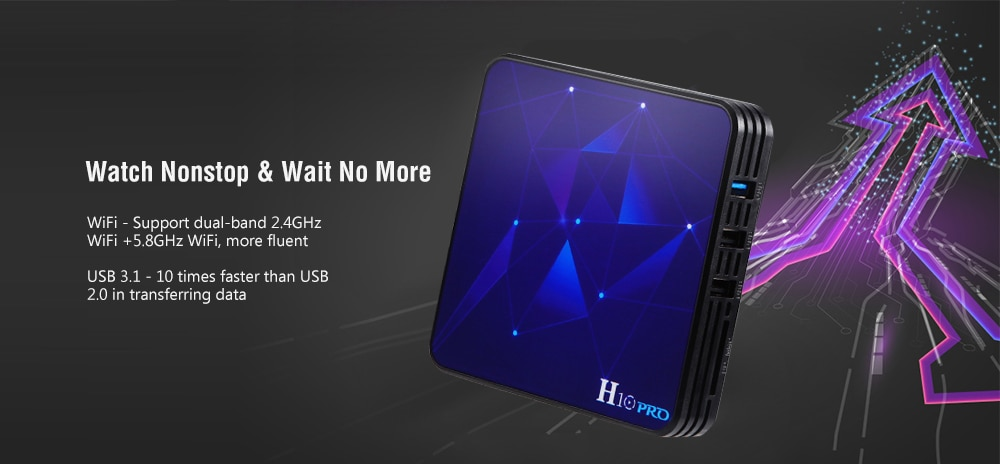 Gocomma H10 PRO Android 9.0 TV Box Rockchip 3318 / Android 9.0 / 4GB RAM + 32GB ROM / 2.4GHz + 5.8GHz WiFi / USB3.0 / BT4.1 / 100Mbps / H.265 / H.264 / VP9 / HDR10 / Supports 4K 60Hz- Black 4GB RAM+32GB ROM EU Plug