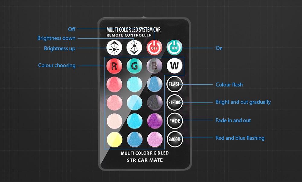 gocomma T10 autós RGB LED 12V 5050 SMD jelzőlámpa olvasás Wedge fény belső dekoráció a távirányítóval 2db-ezüst