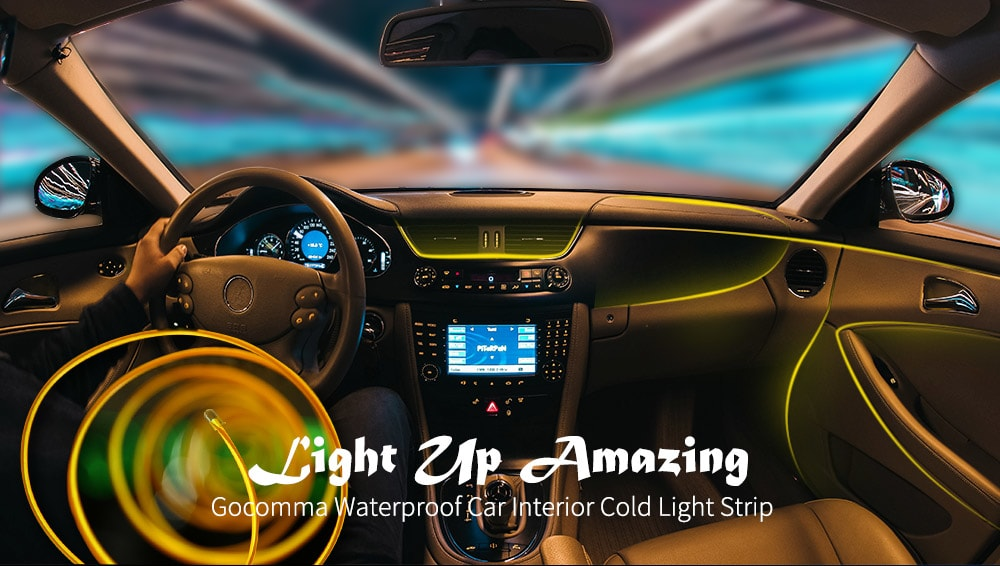 Gocomma Waterproof LED Light Strip Car Interior- Orange 3M