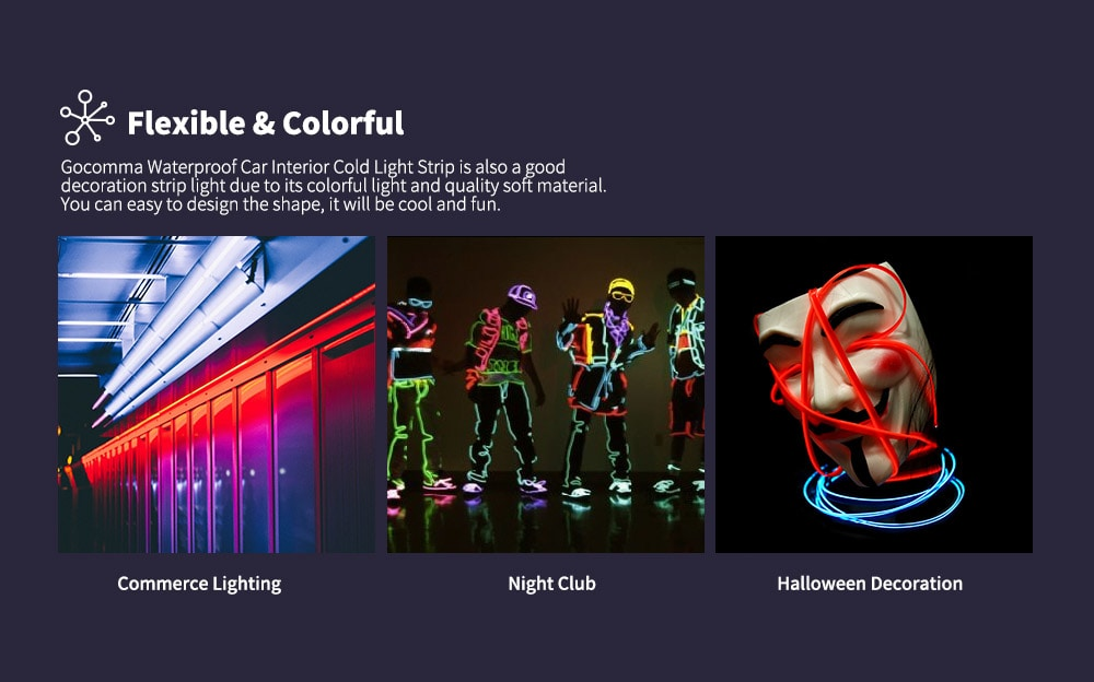 Gocomma Waterproof LED Light Strip Car Interior- Orange 3M