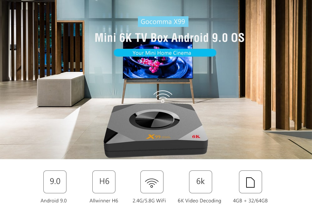 Gocomma X99 Mini 6K TV Box Android 9.0 4GB RAM + 32GB ROM- Black 4GB RAM+32GB ROM EU Plug