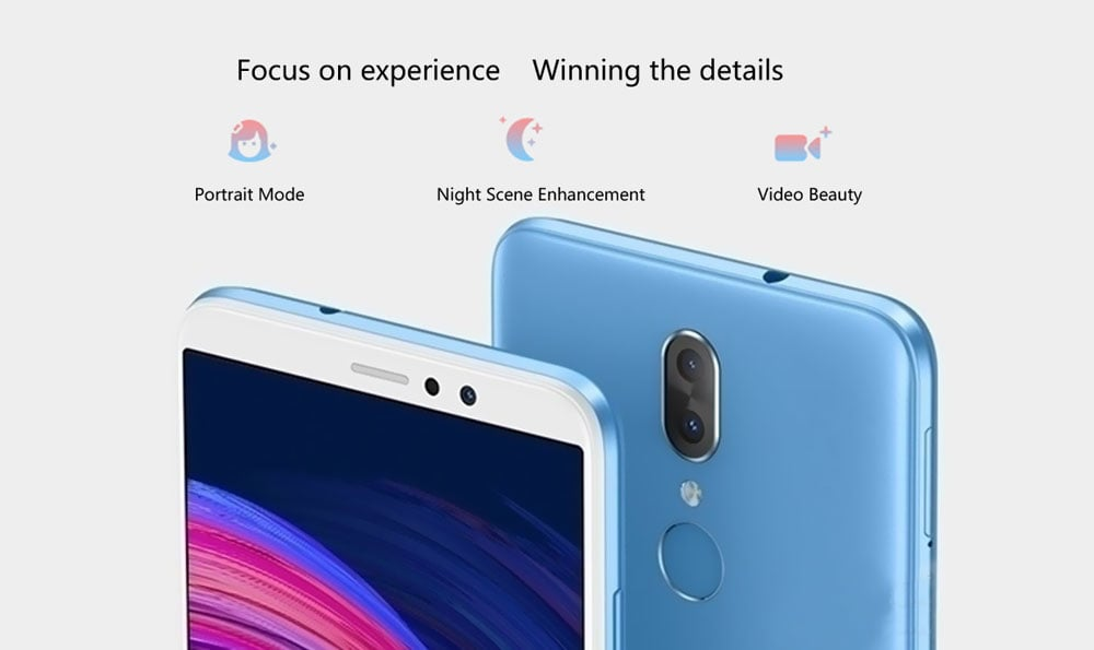 GOME Fenmmy Note ( C7 note PIUs ) 4G Phablet 5.99 inch Android 8.1 MTK 6763T Octa-core 2.3GHz 4GB RAM 64GB ROM 13.0MP + 5.0MP Dual Rear Camera Fingerprint Sensor 3500mAh Built-in- Blue