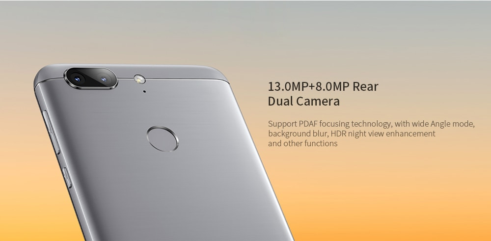 GOME S7 4G Phablet 5.7 inch Android 7.1.1 MTK MT6750T Octa Core 4GB RAM 64GB ROM 13.0MP + 8.0MP Rear Camera 4000mAh Battery- Blue Gray