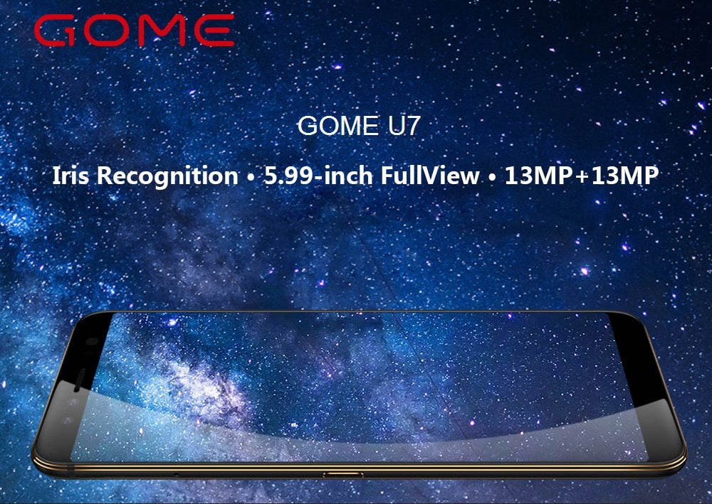 GOME U7 ( 2017M27A ) 4G Phablet 5.99 inch Android 7.1 Helio P25 Octa Core 2.5GHz 4GB RAM 64GB ROM Quad Camera Fingerprint Sensor 3050mAh Built-in  - Black