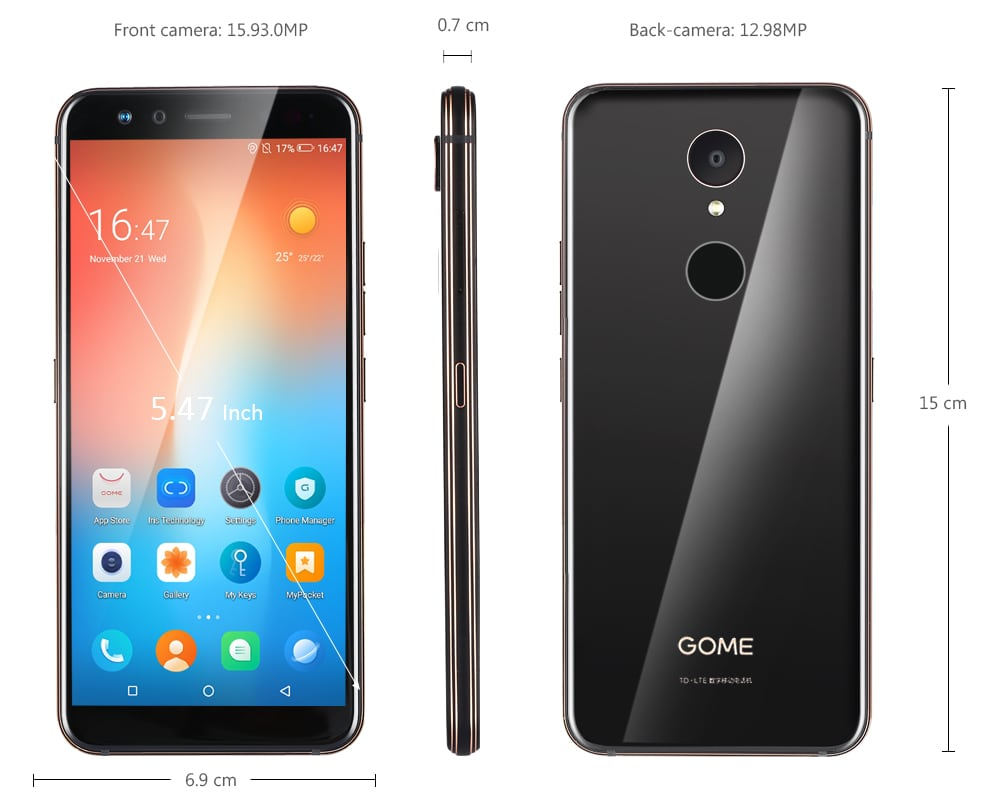 GOME U7 Mini 4G Smartphone 5.47 inch Gome OS 2.0 ( Android 7.1.1 ) Helio X20 Deca Core 2.0GHz 4GB RAM 64GB ROM 16.0MP Front Camera 13.0MP Rear Camera Fingerprint Sensor 2800mAh Built-in- Black