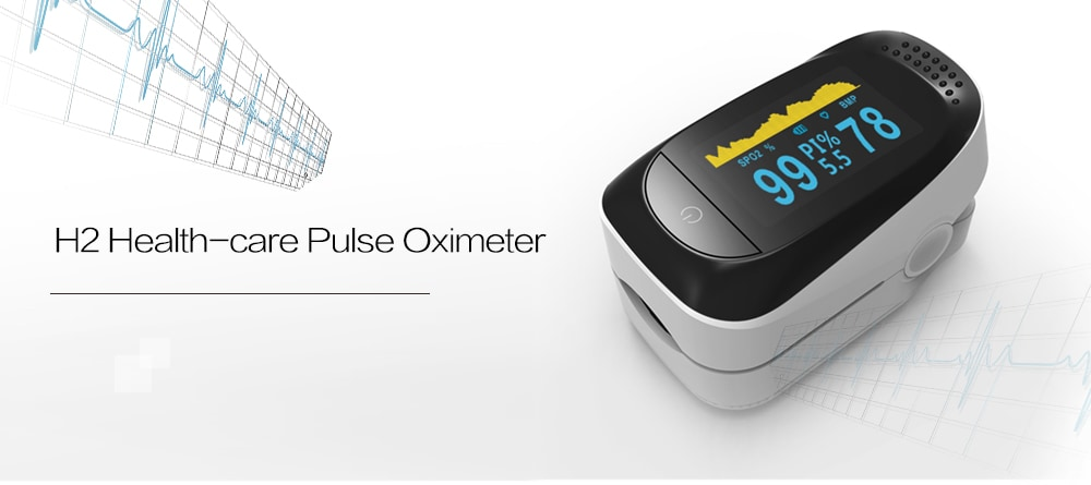 H2 Hand Hold Sleep Health-care 6 Display Modes Pulse Oximeter- White