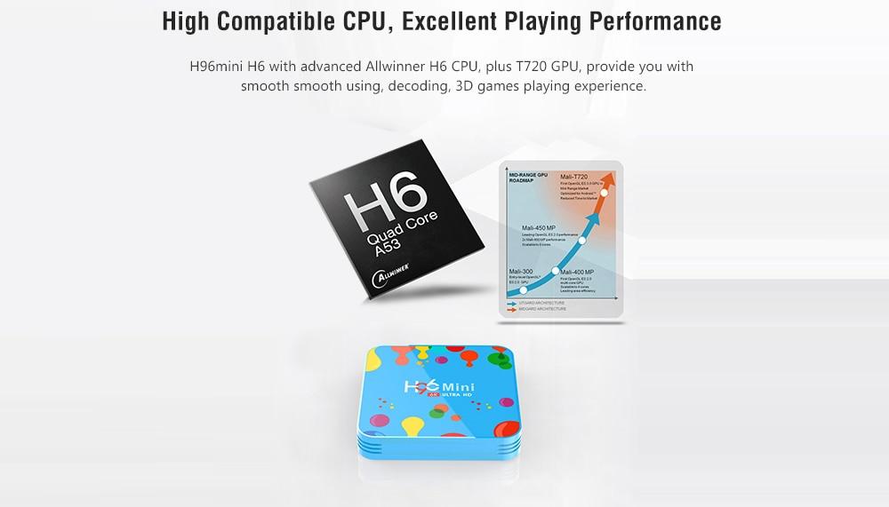 H96mini H6 intelligens TV doboz Allwinner H6 / Android 9.0 / 2.4G + 5G WiFi / 100Mbps / USB3.0 / BT4.0 / Támogatás 6K 30fps - Multi-A 4 GB RAM + 128 GB ROM EU-csatlakozó