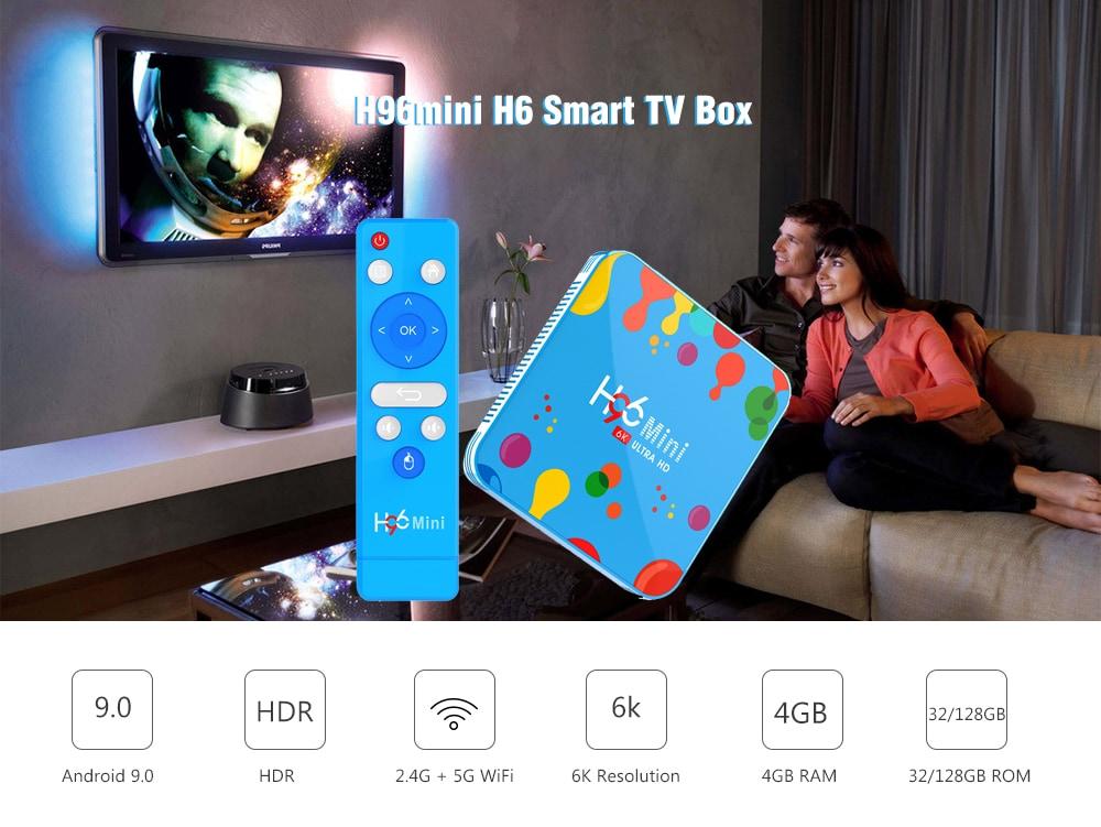 H96mini H6 Smart TV Box Allwinner H6 / Android 9.0 / 2.4G + 5G WiFi / 100Mbps / USB3.0 / BT4.0 / Support 6K 30fps- Multi-A 4GB RAM + 32GB ROM EU Plug