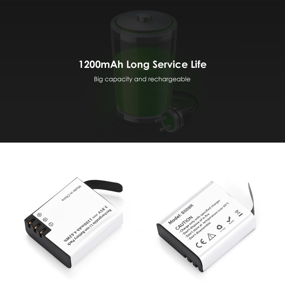 Hawkeye Firefly S009R 1200mAh Spare Li-ion Battery for 8S / 8SE Action Camera- Silver