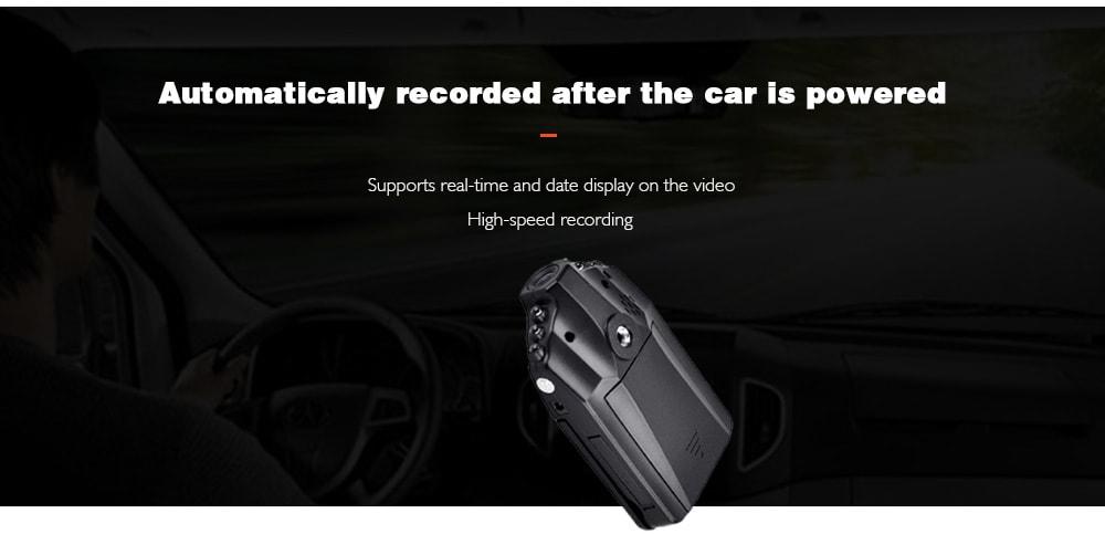 HD autó 6 LED DVR közúti műszerfal videokamera felvevő Videokamera LCD 270 fok - természetes fekete