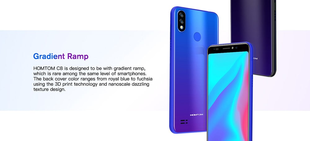 HOMTOM C8 4G Phablet 5.5 inch Android 8.1 MTK6739 Quad Core 1.3GHz 2GB RAM 16GB ROM 13.0MP + 2.0MP Rear Camera Fingerprint Sensor Face ID 3000mAh Built-in- Gold