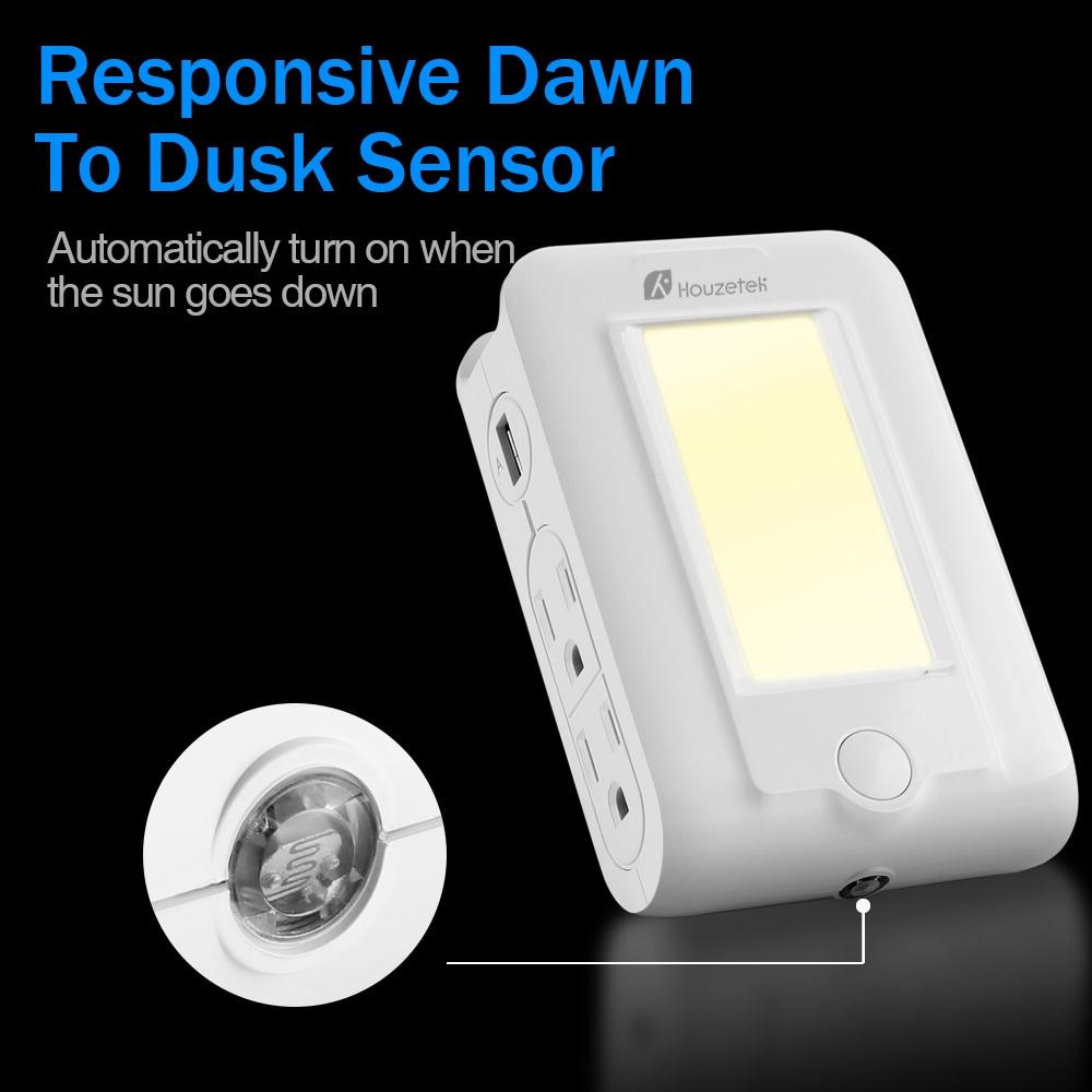 Houzetek falra szerelhető USB töltő LED érzékelő éjszaka fény-fehér