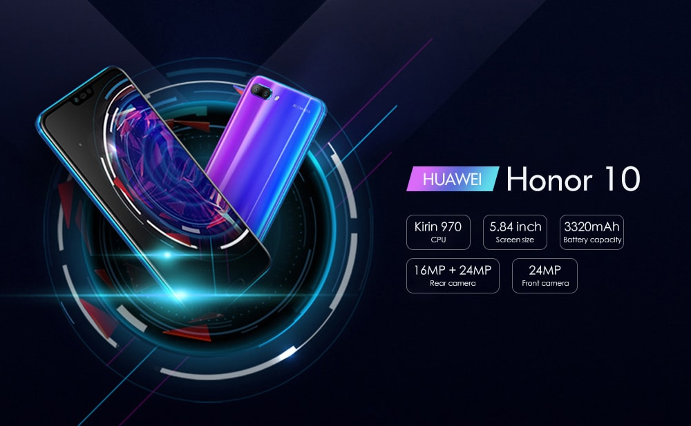 HUAWEI Honor 10 4G Phablet 5.84 inch EMUI 8.1.0 ( Android 8.1.0 ) Kirin 970 4GB RAM 128GB ROM 16.0MP + 24.0MP Rear Camera 3320mAh Battery- Blue