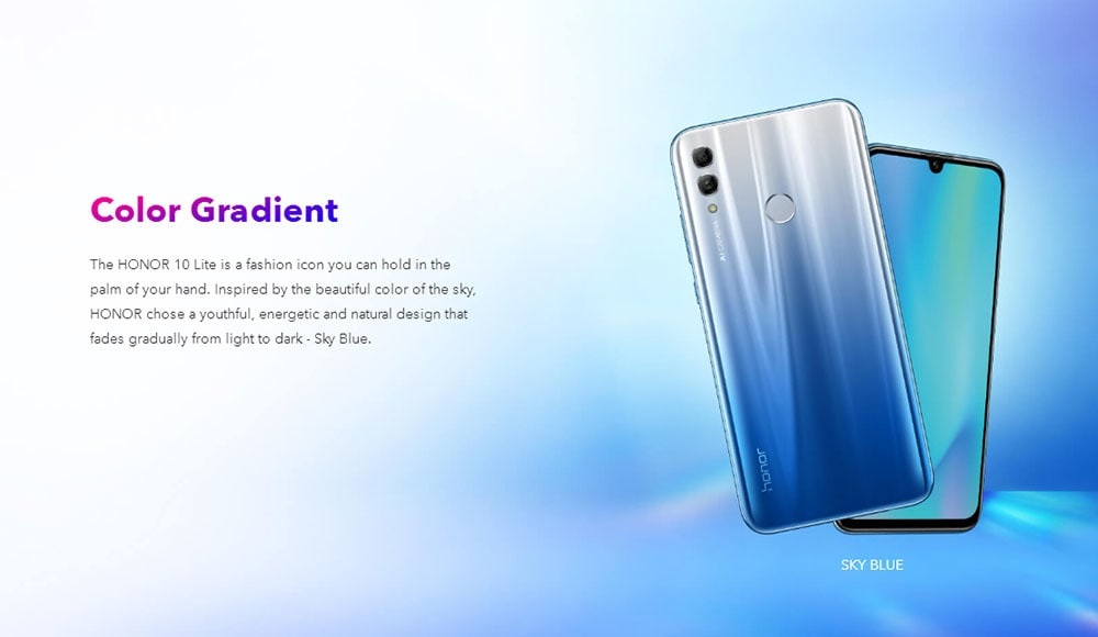HUAWEI Honor 10 Lite ( HRY - LX1MEB ) 4G Phablet 6.21 inch Android 9.0 ( Pie ) EMUI 9 Hisilicon Kirin 710 Octa Core 2.2GHz 3GB RAM 64GB ROM 13.0MP + 2.0MP Rear Camera Fingerprint Sensor 3400mAh Built-in- Sky Blue