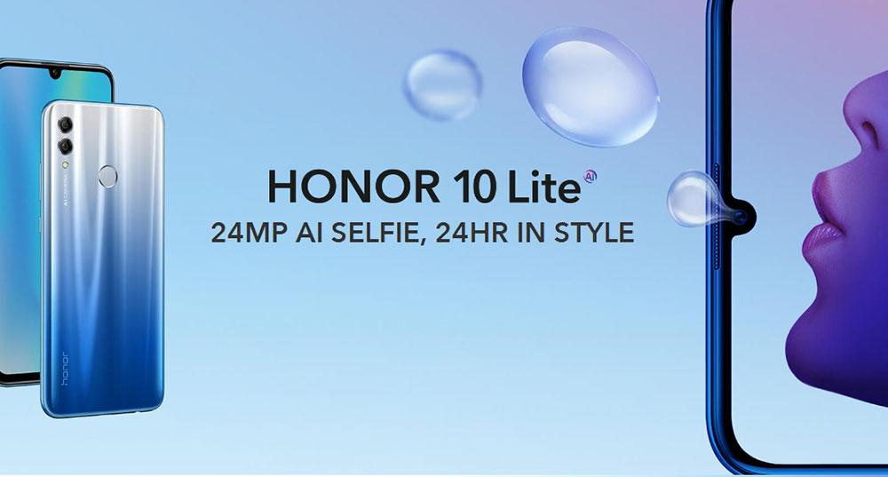 HUAWEI Honor 10 Lite 4G Phablet 6.21 hüvelykes Android 9.0 (Pie) EMUI 9 Hisilicon Kirin 710 Octa Core 2.2GHz 3GB RAM 32GB ROM 13.0MP + 2.0MP hátsó kamera ujjlenyomat-érzékelő 3400mAh Beépített - Fekete