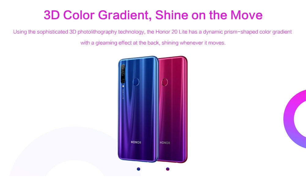 HUAWEI Honor 20 Lite 4G Phablet 6.21 inch Android 9.0 Kirin 710 4GB RAM 128GB ROM 24.0MP + 8.0MP + 2.0MP Rear Camera 3400mAh Battery- Red