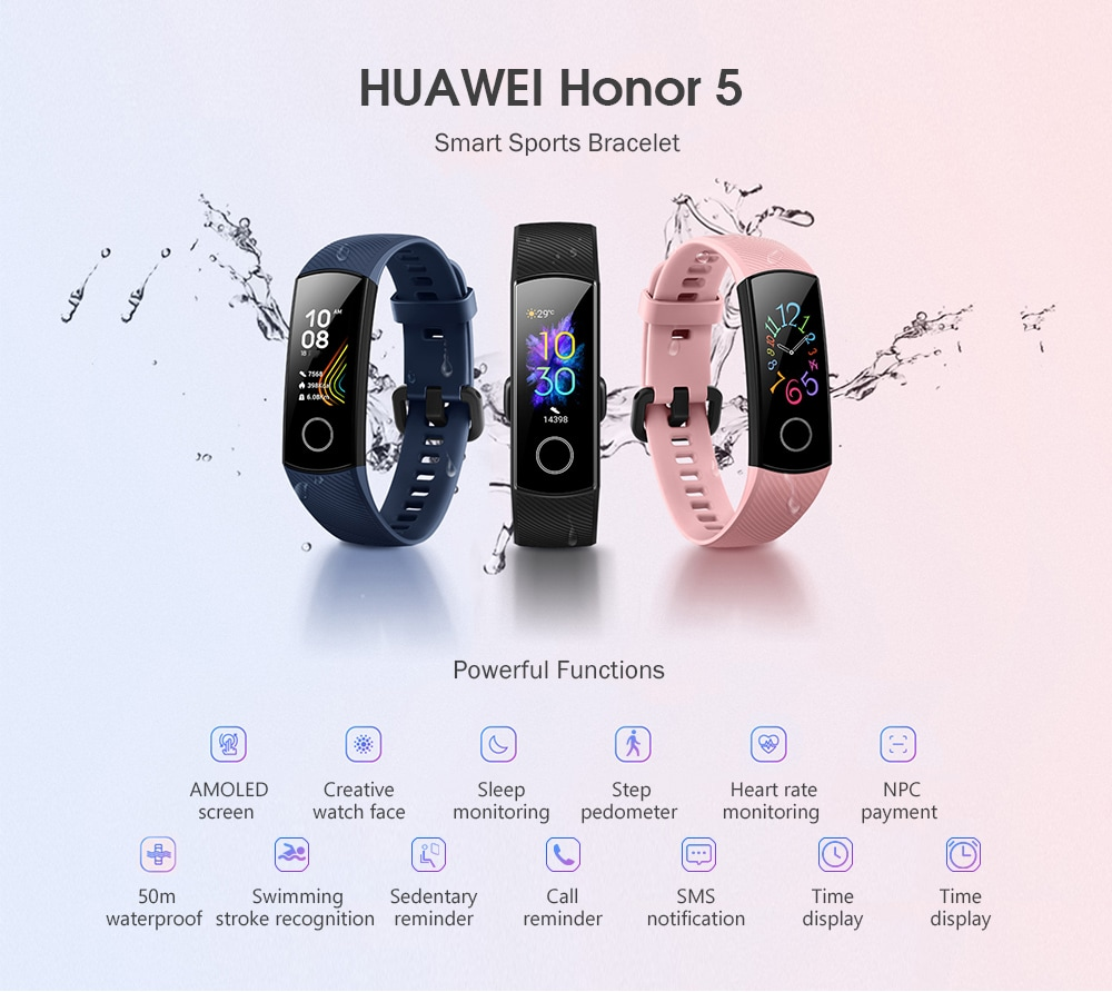 HUAWEI Honor 5 CRS - B19S Smart Watch Sports Bracelet Standard Edition- Pink