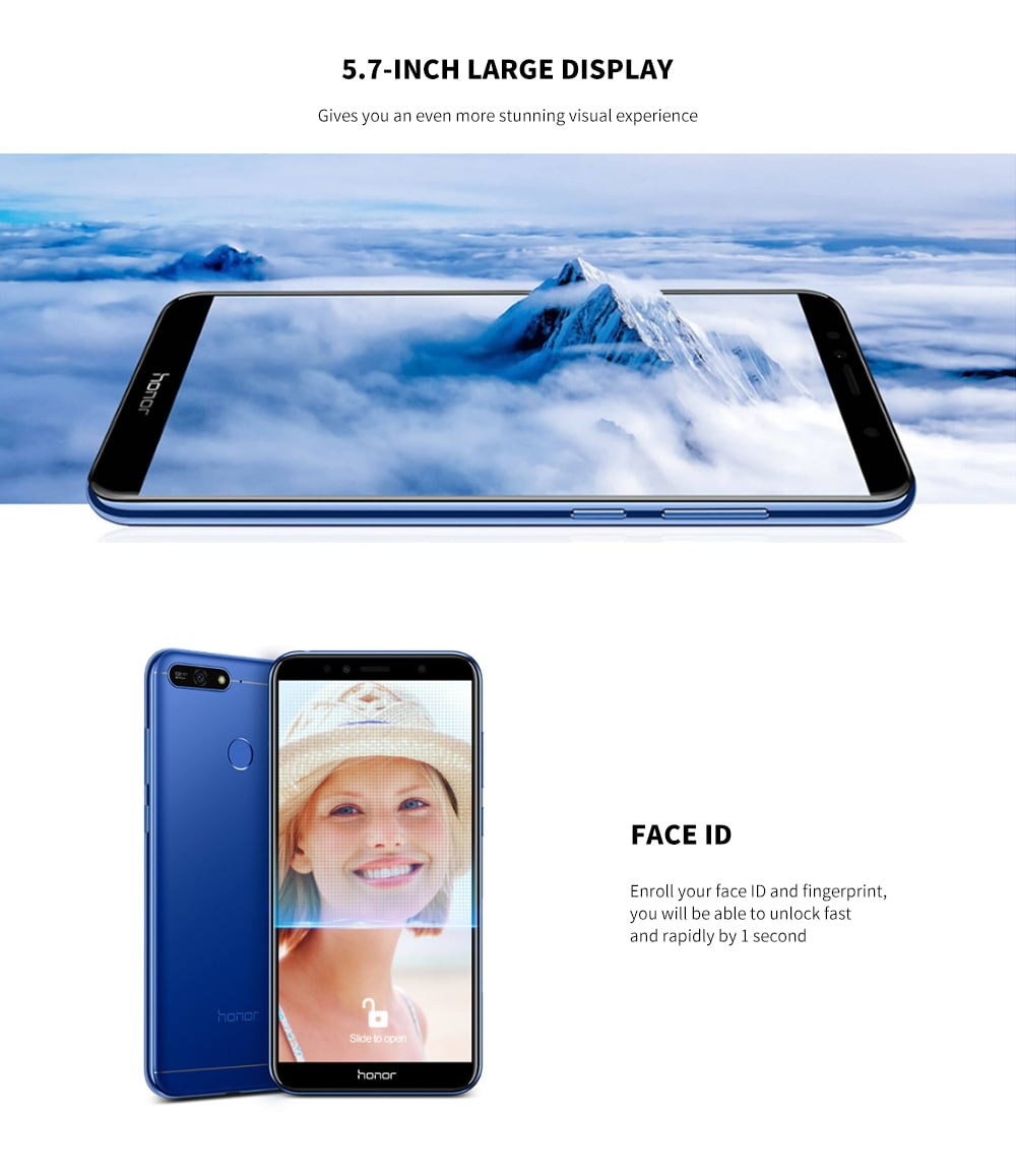 HUAWEI Honor 7A 4G Phablet 5.7 inch Android 8.0 Qualcomm Snapdragon 430 Octa Core 1.4GHz + 1.1GHz 2GB RAM 16GB ROM 13.0MP Rear Camera 3000mAh Battery- Blue