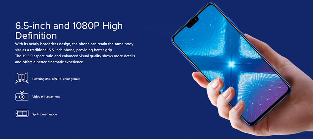 HUAWEI Honor 8X 4G Phablet 6.5 inch Android 8.1 Kirin 710 Octa-core 2.2GHz 4GB RAM 64GB ROM 20.0MP + 2.0MP Rear Camera Fingerprint Sensor 3750mAh Built-in- Black