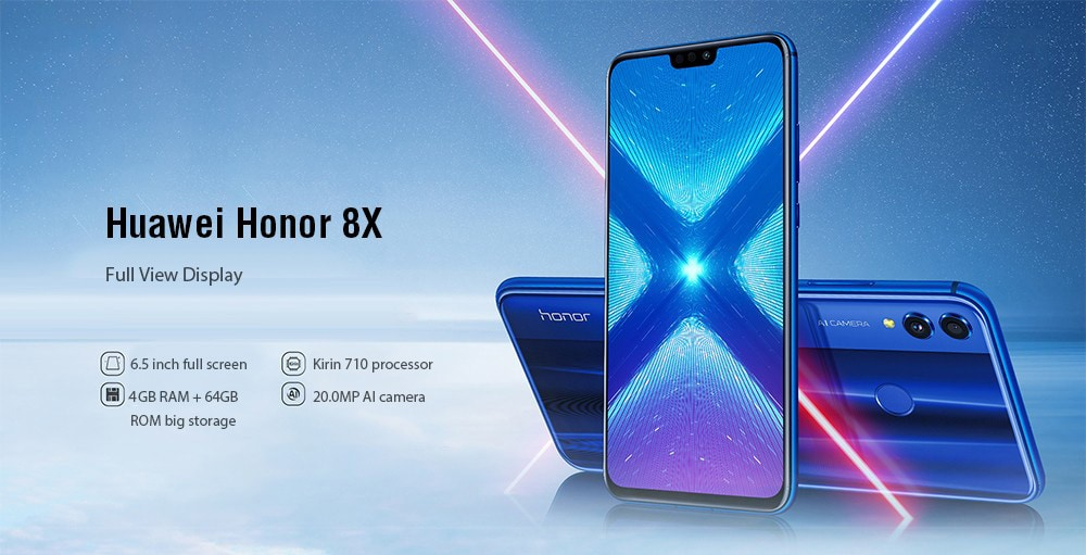 HUAWEI Honor 8X 4G Phablet 6.5 inch EMUI 8.2 ( Android 8.1 ) Hisilicon Kirin 710 Octa Core 2.2GHz 4GB RAM 64GB ROM 20.0MP + 2.0MP Rear Camera Fingerprint Sensor 3750mAh Built-in- Black