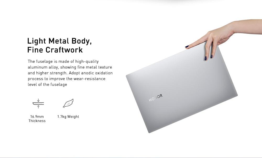 HUAWEI Honor MagicBook Pro HBL - W19 16,1 hüvelykes notebook Windows 10 OS / Intel Core i5-8265U 3,9 GHz-es CPU / 8 GB-os DDR4 RAM 512 GB-os SSD laptop - ezüst