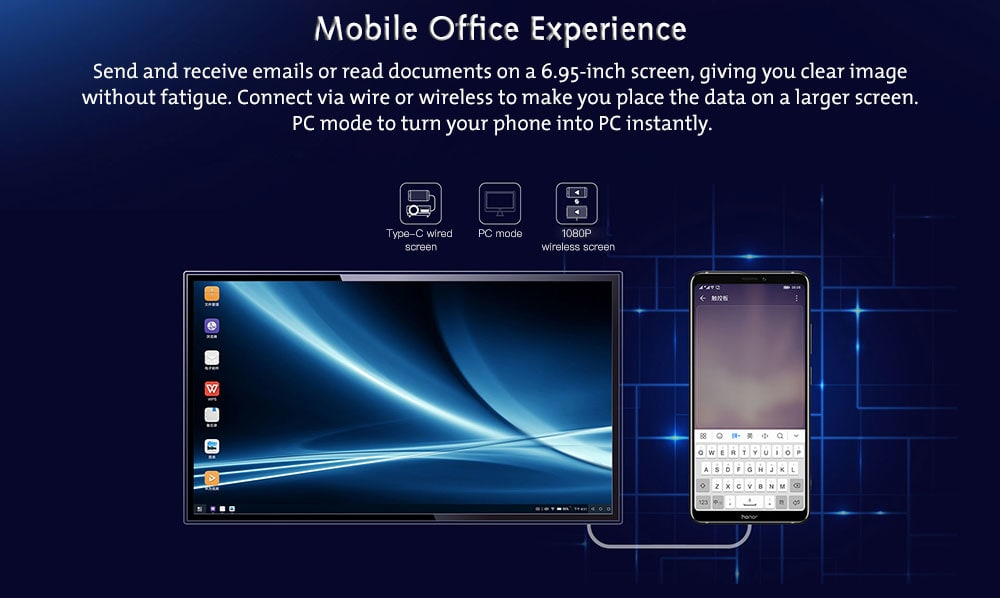 HUAWEI Honor Note 10 4G Phablet 6.95 inch Android 8.1.0 Kirin 970 Octa Core 2.36GHz 6GB RAM 128GB ROM 16.0MP + 24.0MP Rear Camera Fingerprint Sensor 5000mAh Built-in- Blue