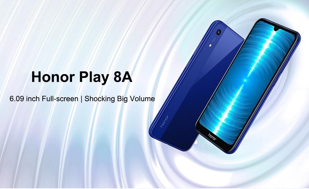 HUAWEI Honor Play 8A 4G Phablet 6,09 hüvelykes Android 9 MT6765 (Helio P35) Octa Core 2,3 GHz 3 GB RAM 32 GB-os ROM 13,0 MP-es hátsó kamera Arcfeloldás 3020mAh Beépített - Fekete