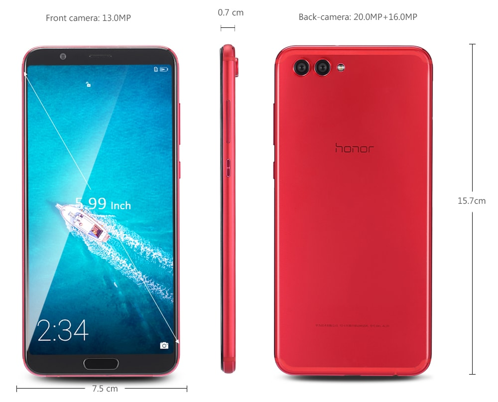 HUAWEI Honor V10 4G Phablet 5.99 inch Android 8.0 Kirin 970 Octa Core 4GB RAM 128GB ROM 20.0MP + 16.0MP Rear Camera Fingerprint Sensor 3750mAh Built-in- Red