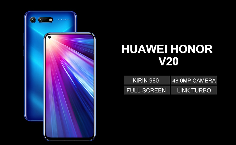 HUAWEI Honor V20 4G Phablet 6.4 inch Android 9.0 OS Kirin 980 Octa-core 2.6GHz 8GB RAM 128GB ROM 25.0MP Front Camera Fingerprint Sensor NFC 4000mAh ( typ ) / 3900mAh ( min ) Built-in- Blue