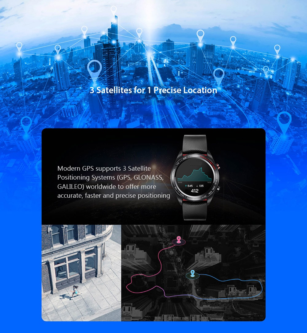 HUAWEI HONOR Watch Magic Glory Smart Watch Lightweight Design / One Week Battery Life / 50 Meters Waterproof / AMOLED Color Screen / GPS / NFC Payment / Smart Reminder Lava Black- Black