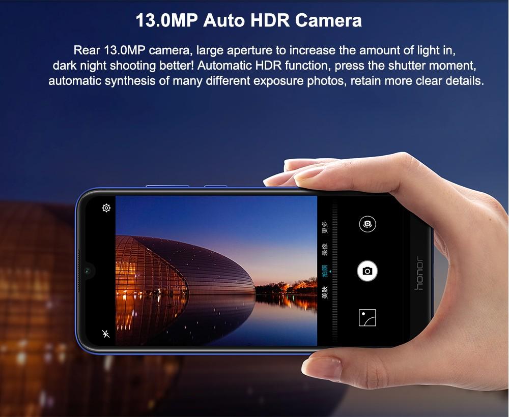 HUAWEI Honor Play 8A 4G Phablet 6.088 hüvelykes Android 9 MT6765 (Helio P35) Octa Core 2.3GHz 3GB RAM 64GB ROM 8.0MP elülső kamera Face Unlock 3020mAh Beépített - Fekete