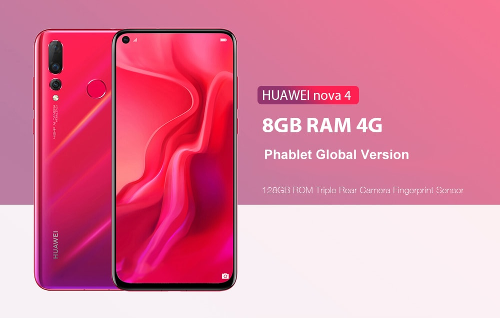 HUAWEI nova 4 4G Phablet 6.4 inch Android 9.0 EMUI9.0.1 OS Kirin 970 Octa Core 2.4GHz 8GB RAM 128GB ROM Triple Rear Camera Fingerprint Sensor 3750mAh Built-in Global Version- Blue