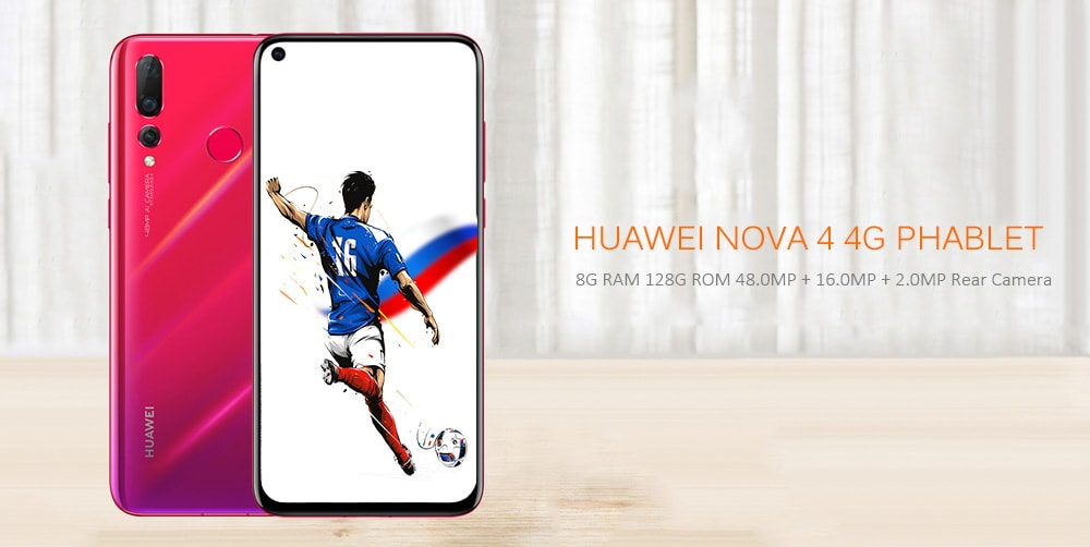 HUAWEI nova 4 4G Phablet 6.4 inch Android 9.0 HUAWEI Kirin 970 Octa Core 2.36GHz 8G RAM 128G ROM 48.0MP + 16.0MP + 2.0MP Rear Camera 25.0MP Front Camera 3750mAh Built-in  - Black